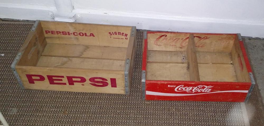 coca cola and pepsi cola wood crates