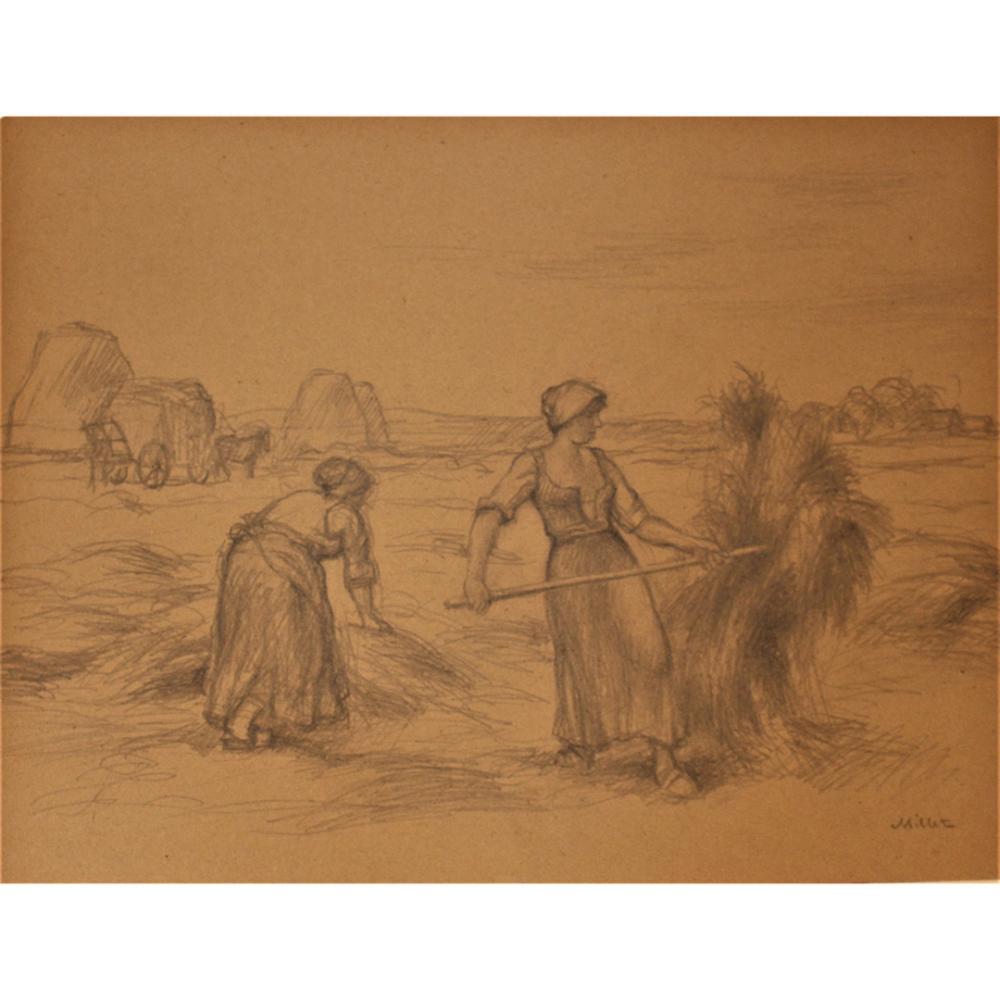 Millet antique pencil drawing women in hay field