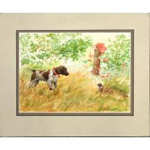 Aiden Lassell Ripley, Watercolor Hunting Dog, Pheasant