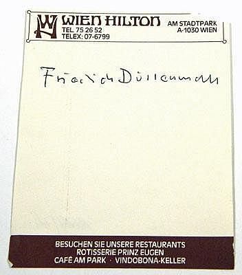 Autographs: DÜRRENMATT, Friedrich, schweizer