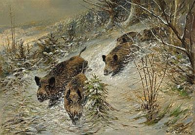 Wilhelm Lorenz (1901-1981) Wild Boar in a Wintry