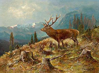 M. Müller c. 1915 Deer in a Wide Landscape, signed