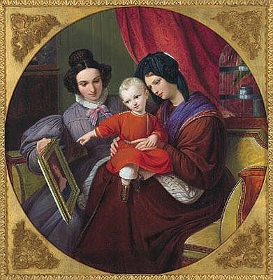 August Hopfgarten (Berlin 1807-1896) Family Idyll,
