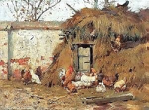 Vastagh Geza (Kolozsvar 1866 - 1919 Budapest)  Poultry on the Yard, signed in the upper left Vastagh Geza, oil on canvas, 24.5 x 33 cm, frame (Ni)  E45.000 CZK E1.500 EURO