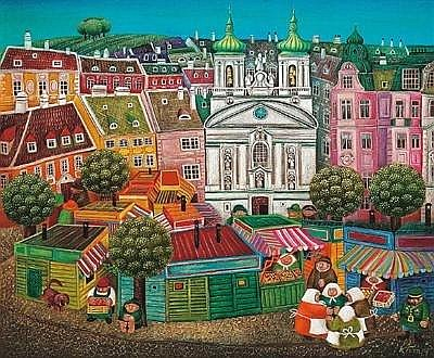 Gottfried Kumpf (born 1930 at Annaberg/Salzburg) Market and Church of St. Roch, Vienna, c. 1968, signed Kumpf, oil on hardboard, 50 x 60 cm, framed, (K) Provenance: Acquired directly from the artist COLLECTION LILL