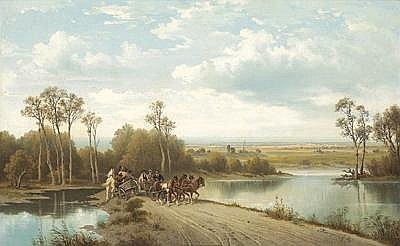 Josef Burgaritzky (Molln/Steyr 1836-1890 Vienna) Narrow Country Road signed J. Burgaritzki, oil on canvas, 37 x 58 cm, framed, (W)