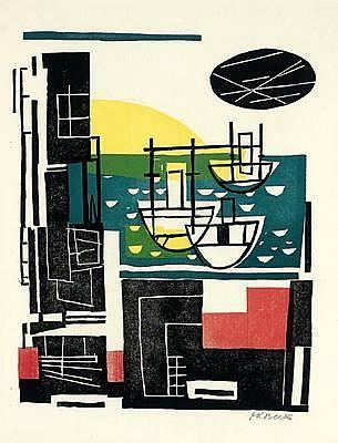Gustav Karl Beck (Vienna 1902-1983) Ships, woodcut