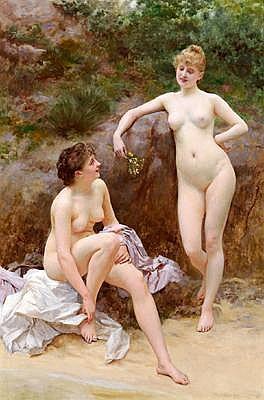 Vlaho Bukovac(Agram 1855-1922 Prague) Two Girls
