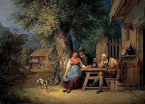 Ignaz Raffalt (Weisskirchen 1800-1857 Hainbach/Vienna) The hunter's suit, signed and dated Raffalt 1840, oil on panel, 36.5 x 50cm, framed, (W)