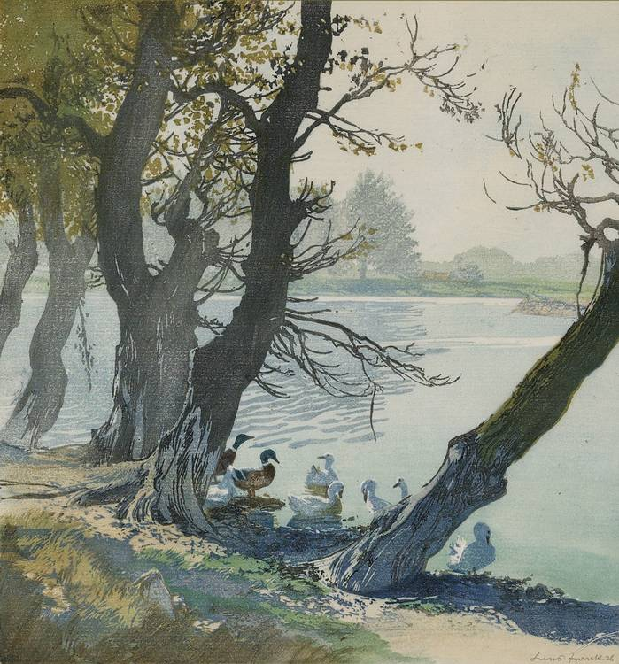 Hans Frank (Vienna 1884-1948 Salzburg) 'On the old Danube (Wild Ducks)', colour