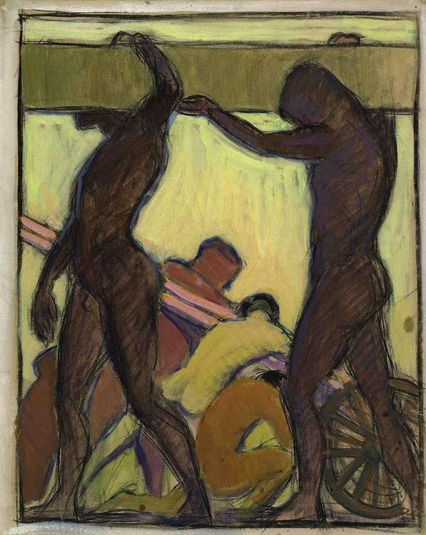 Hermann Grom-Rottmayer (Vienna 1877-1953) Construction Worker, stamped verso: 'This
