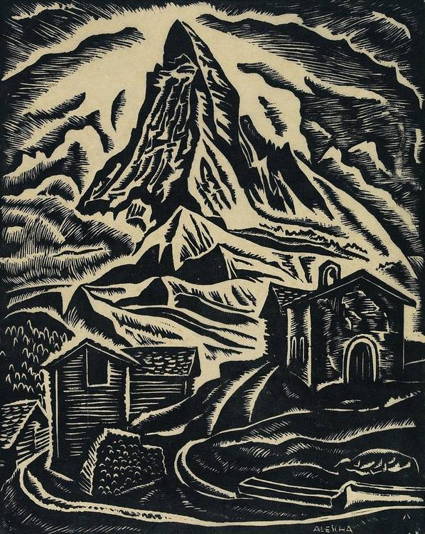 Theodor Allesch-Alescha (Vienna 1898-1991) The Matterhorn, wood-cut, signed on the plate