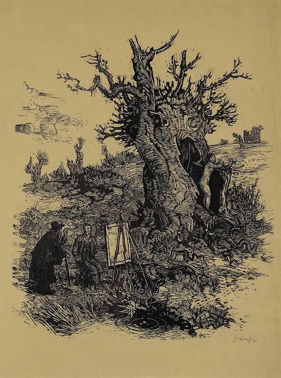 Switbert Lobisser (Tiffen 1878-1943 Klagenfurt) 'The Painter', 1935, wood-cut, signed S.