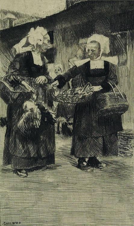 Ferdinand Schmutzer (Vienna 1870-1928) 'At the Dyck', 'Flocks of sheep in France'