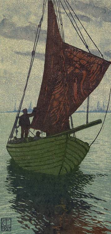 Carl Thiemann (Karlsbad, Böhmen, 1881-1966 Dachau) 'Sailing Boat', colour wood-cut