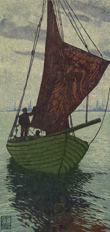 Carl Thiemann (Karlsbad, Böhmen, 1881-1966 Dachau) 'Sailing Boat', colour wood-cut