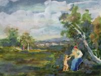 Alfred Buchta (Trieste 1880-1952 Vienna) Mother with children in a Summer Landscape