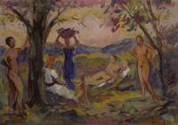 Alfred Buchta (Trieste 1880-1952 Vienna) Autumn Day, signed A. Buchta, Watercolour