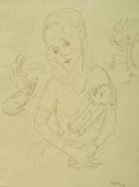 Georg Ehrlich (Vienna 1897-1966 Luzern) Madonna Sketch, titled, signed, dated Ehrlich 22