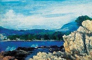 Hubacek Josef (Prague 1899 - 1931 Prague)  Cap Ferrat, signed and dated in the lower right Hubacek J. 1931 III, oil on  canvas, 65 x 100 cm, frame slightly damaged, Manes 1932 exhibition stamp on the reverse (Ni)