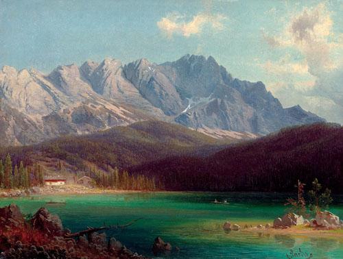 """Michael Sachs (1836-1893) """"Deutsche Seelandschaft mit Gebirgsmassiv"""", signiert Sachs"""