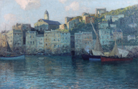 """Alfred Zoff (Graz 1852-1927) """"Recco an der ligurischen Küste"""", signiert A. Zoff, Öl auf"""