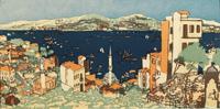 "Emma Bormann (Wien 1887-1974 Riverside) Farbholzschnitt ""Am Bosporus"", Passep.-"