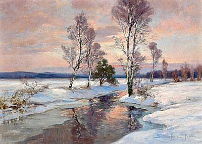 Franz Schreyer (Leipzig 1858 born) Winterabend am
