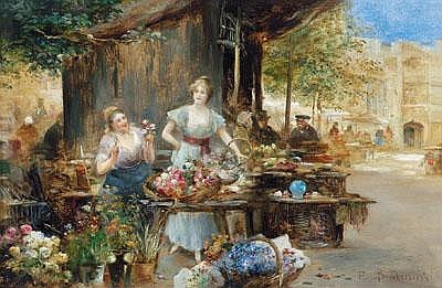 Emil Barbarini (Wien 1855-1930) Blumenverkäuferin