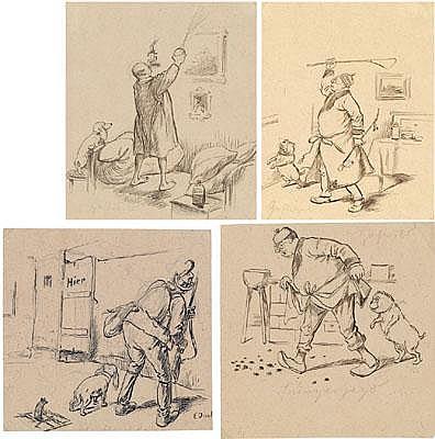 Ernst Juch (Gotha 1838-1909 Wien) Vier Blätter mit
