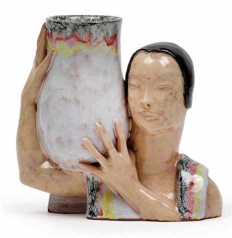 Dina Kuhn (Vienna 1891-1963 Schlierbach), A bust carrying a vase,