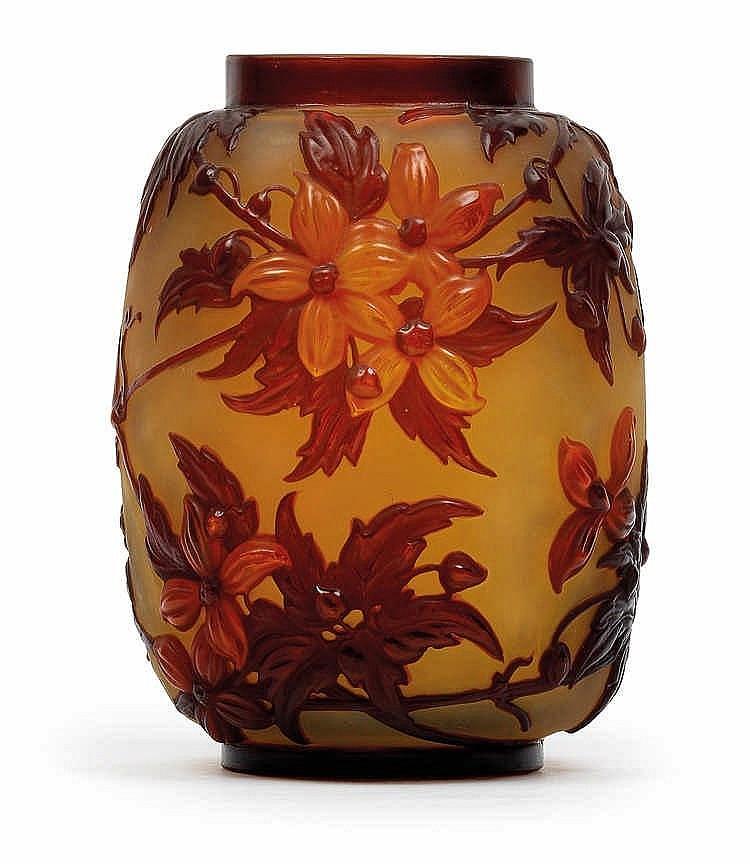 An overlaid glass vase by Gallé,