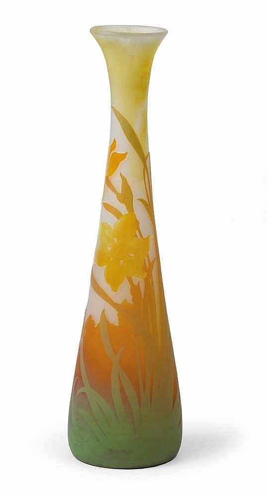 An overlaid and etched glass vase by Gallé,