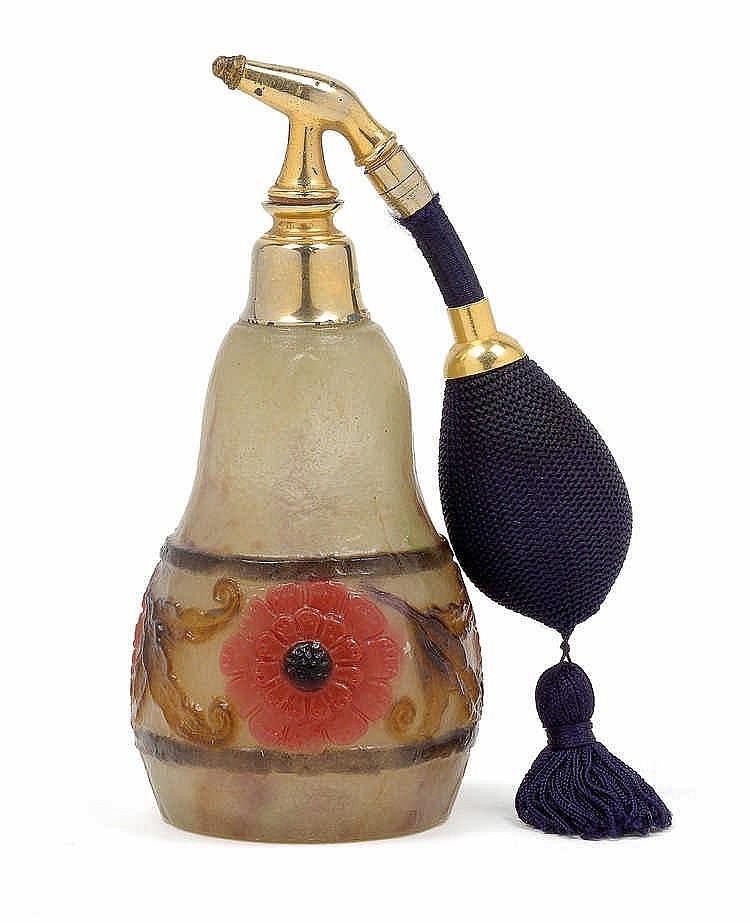 """G. Argy-Rousseau, A moulded """"bande de fleurs et feuilles"""" flask"""
