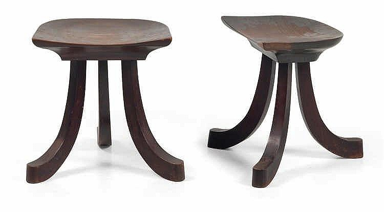 "Adolf Loos, A pair of three-leg ""Egyptian"" stools,"