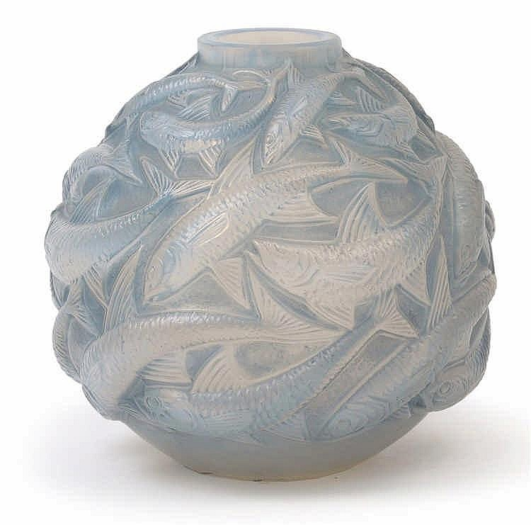 "An ""Oléron"" moulded glass vase by René Lalique,"