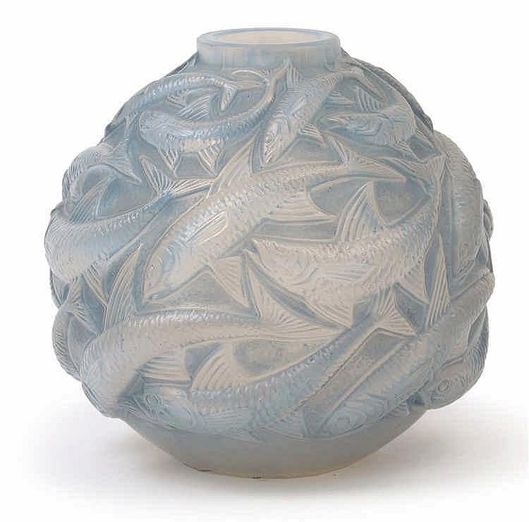 """An """"Oléron"""" moulded glass vase by René Lalique,"""