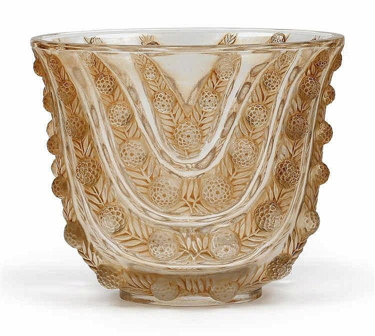 "A ""Vichy"" moulded glass vase by René Lalique,"