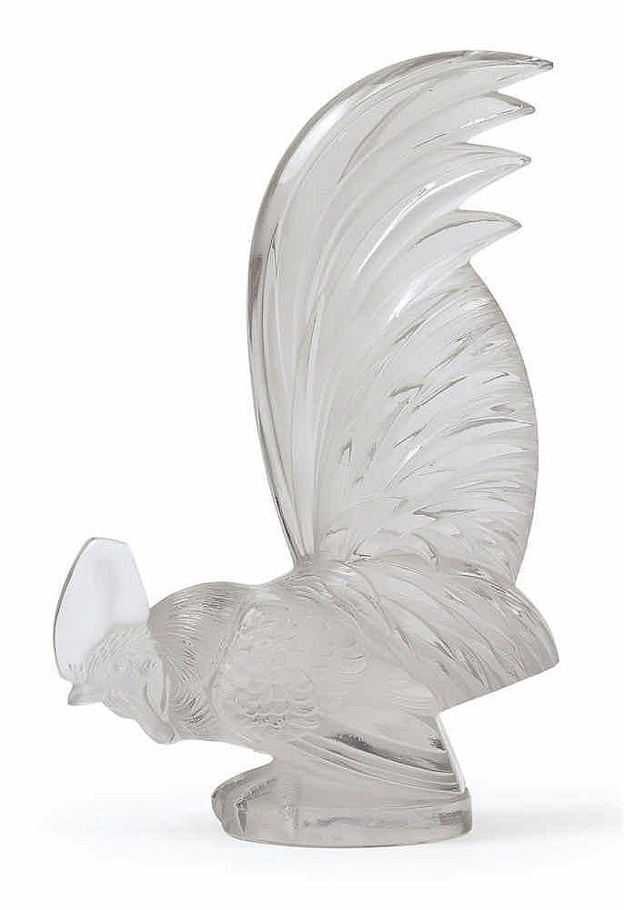 """A """"Coq Nain"""" moulded glass paperweight by René Lalique,"""