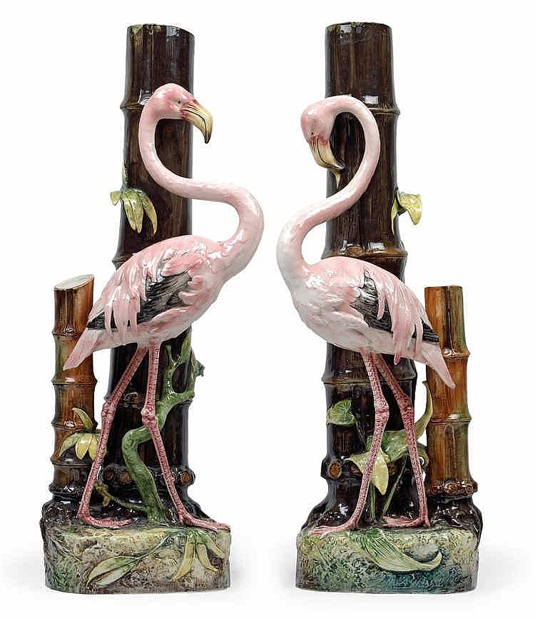 Alois Hampel, A pair of rare floor vases with flamingos,