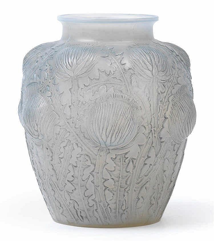 "A ""Domremy"" moulded glass vase by René Lalique,"