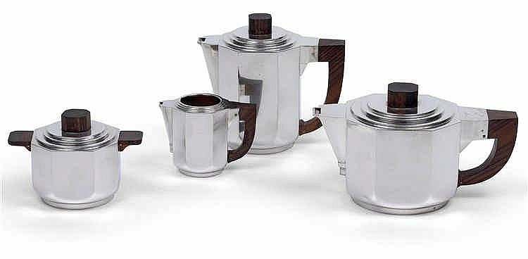 A four-piece coffee and tea service by Henri Lapparra,