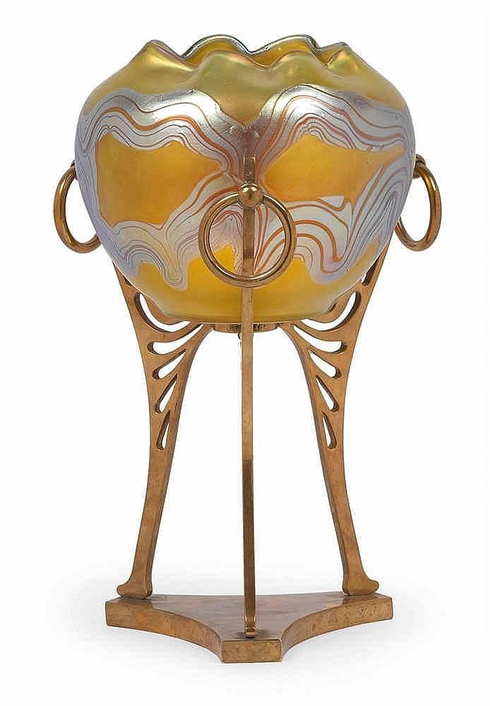 A Lötz Witwe vase in bronze mount,