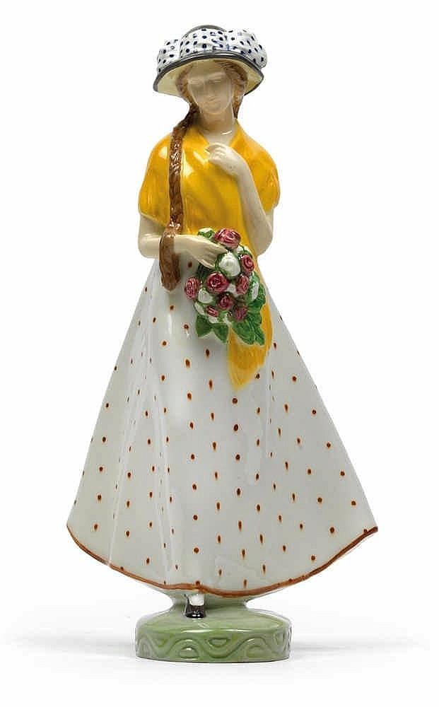 Ida Schwetz-Lehmann (1883 Vienna 1971), A girl with a bouquet of roses,