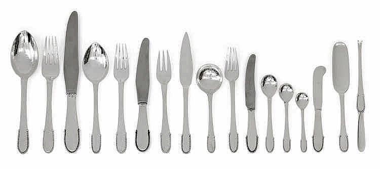 """Georg Jensen, A 206-piece """"Beaded"""" pattern cutlery set in a wooden box,"""