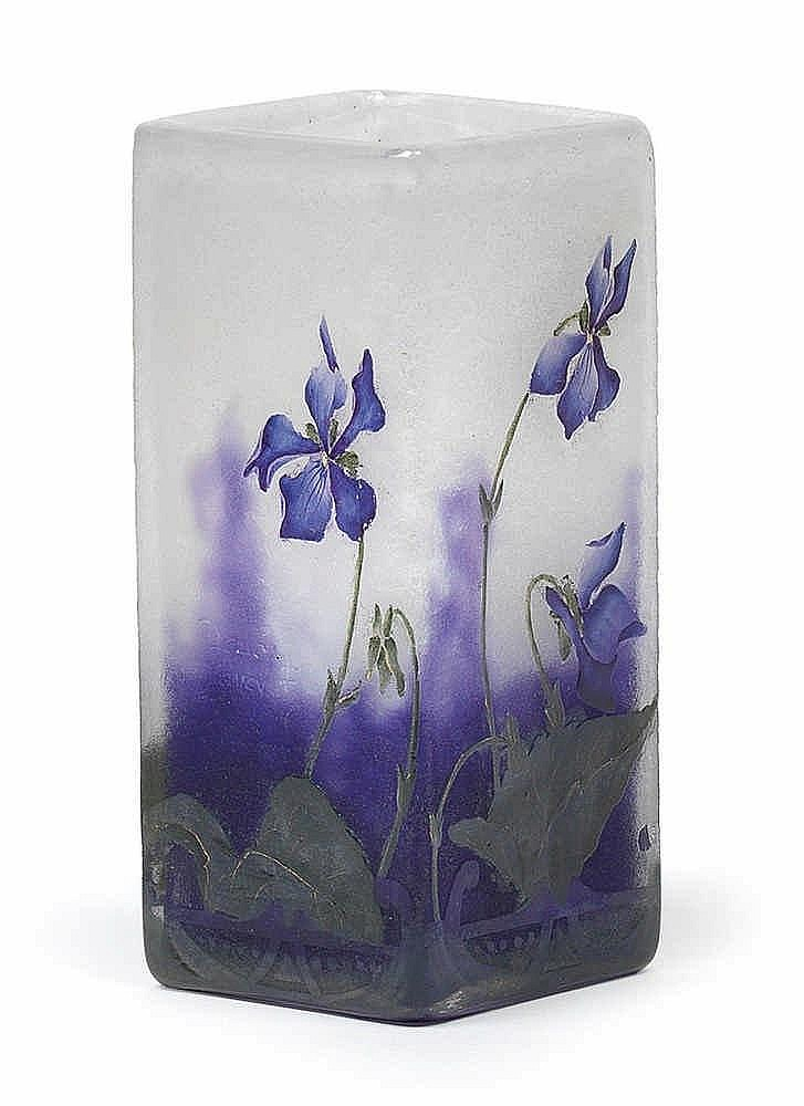 An etched glass vase by Daum,