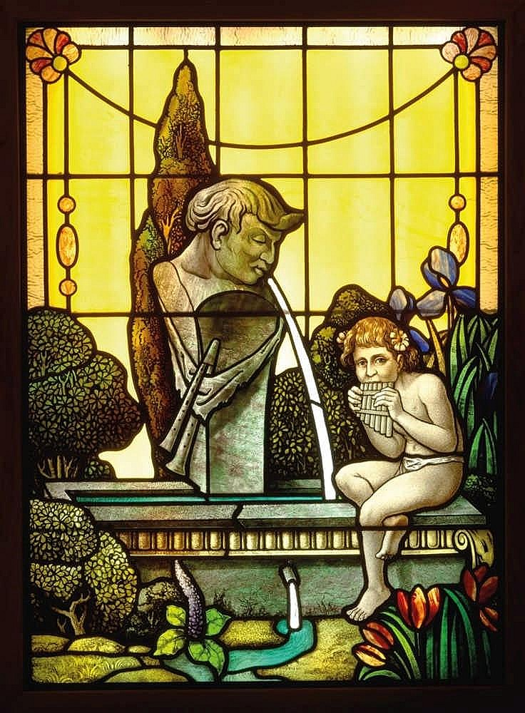 Francis Xavier Zettler (1841 Munich 1916), A glass window with a boy playing a pan flute in a landscape,