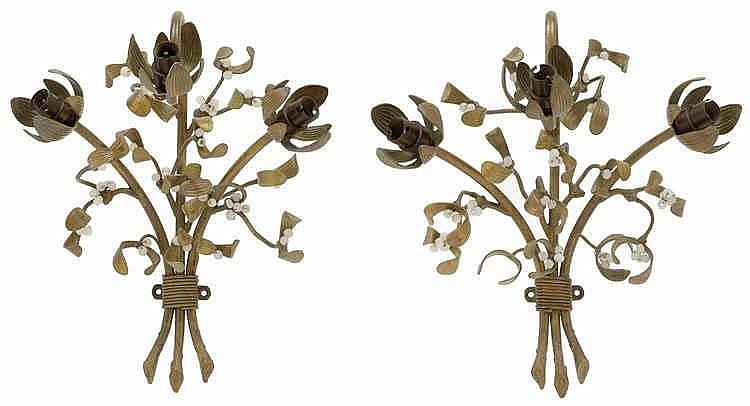 A pair of French three-light mistletoe appliques,