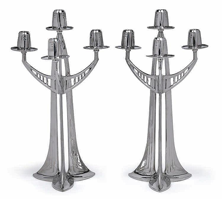Attributed to Albert Reimann, A pair of four-arm girandoles,
