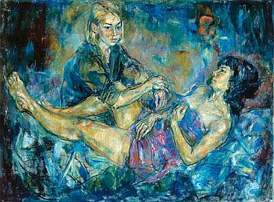 Dina Larot *(born 1943 in Vienna) Sisters, signed